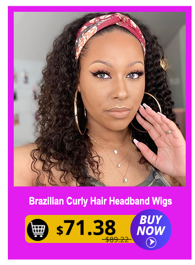 Brazilian Curly Headband Human Hair Wigs For Black Women (GET FREE TRENDY HEADBAND)