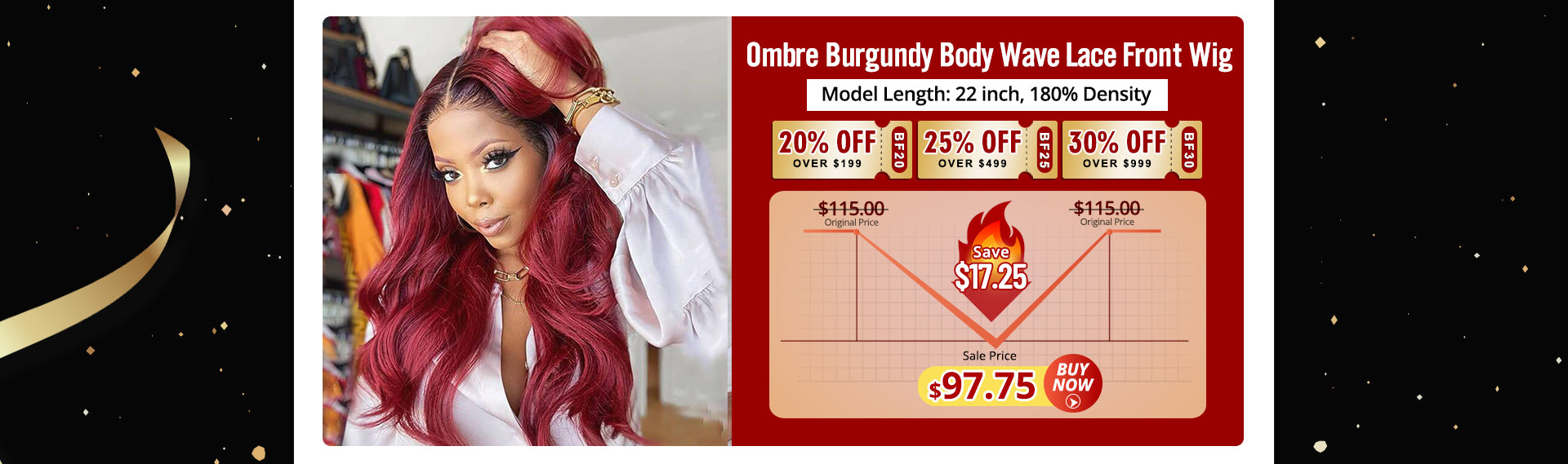 Ombre Burgundy Body Wave Lace Front Wigs