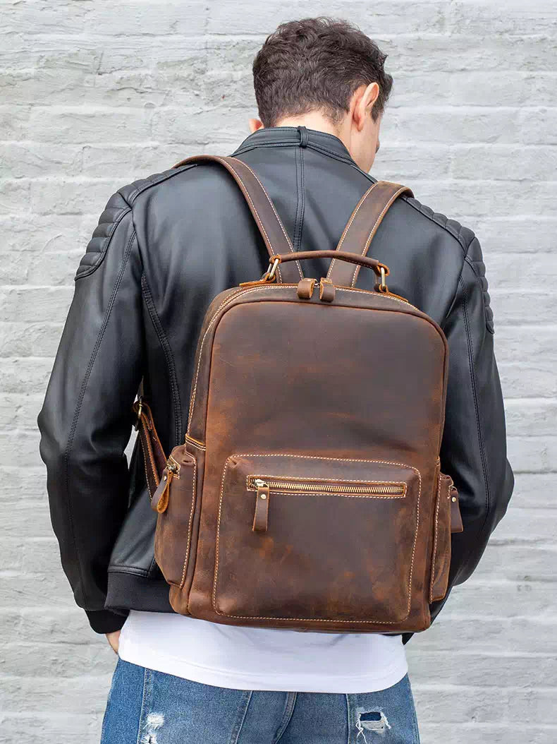 Crazy Horse Leather Backpack