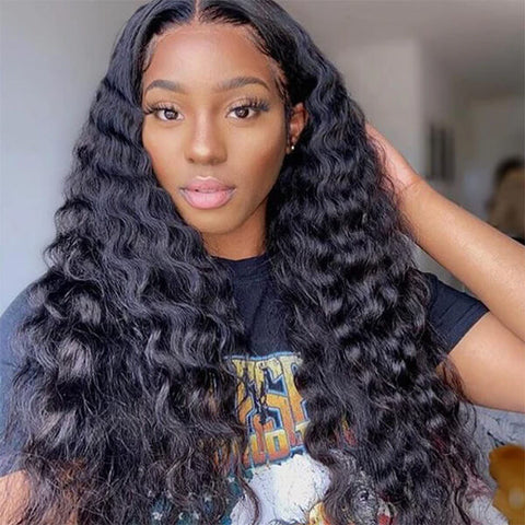T Part Wig Loose Deep Wave Lace Wig Transparent Human Hair Wigs