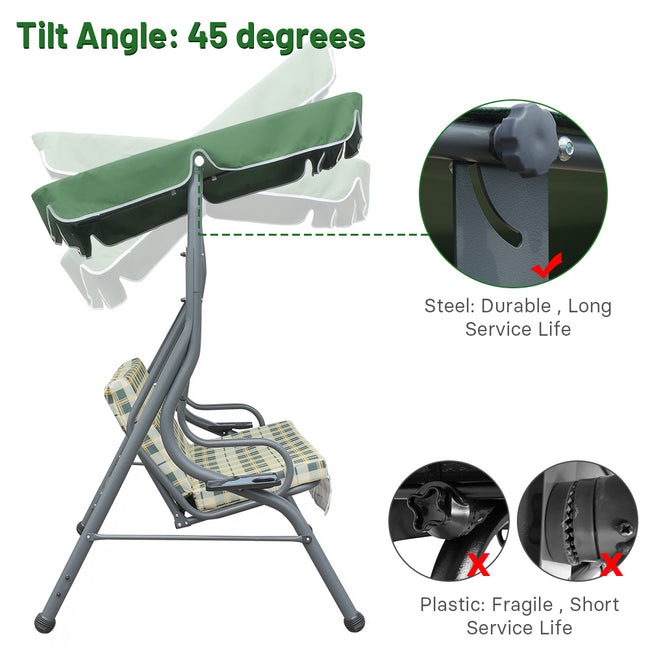 Zupapa canopy swing: tilt up to 45 degrees