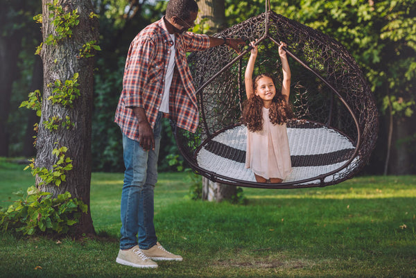 playing with swing chair
