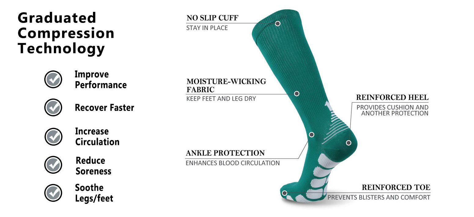 green compression socks features