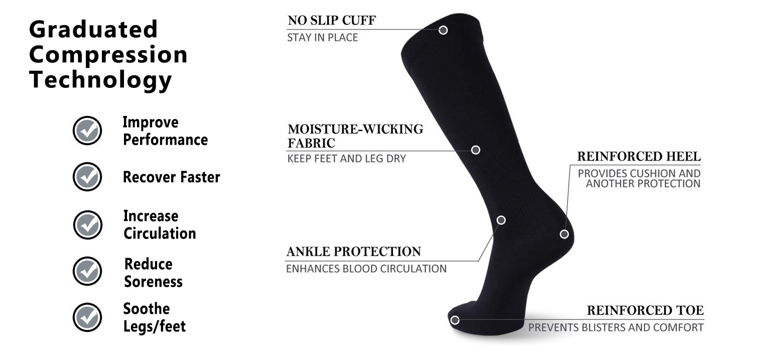 black compression socks features