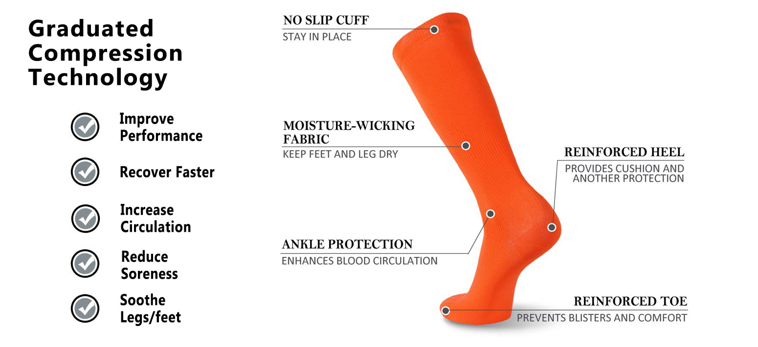 orange compression socks features