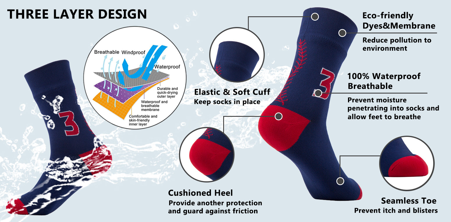 100% waterproof socks features
