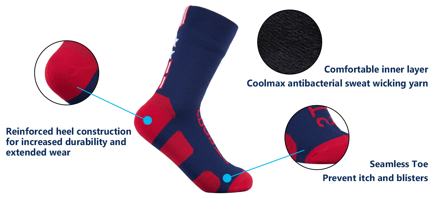 flag waterproof socks features