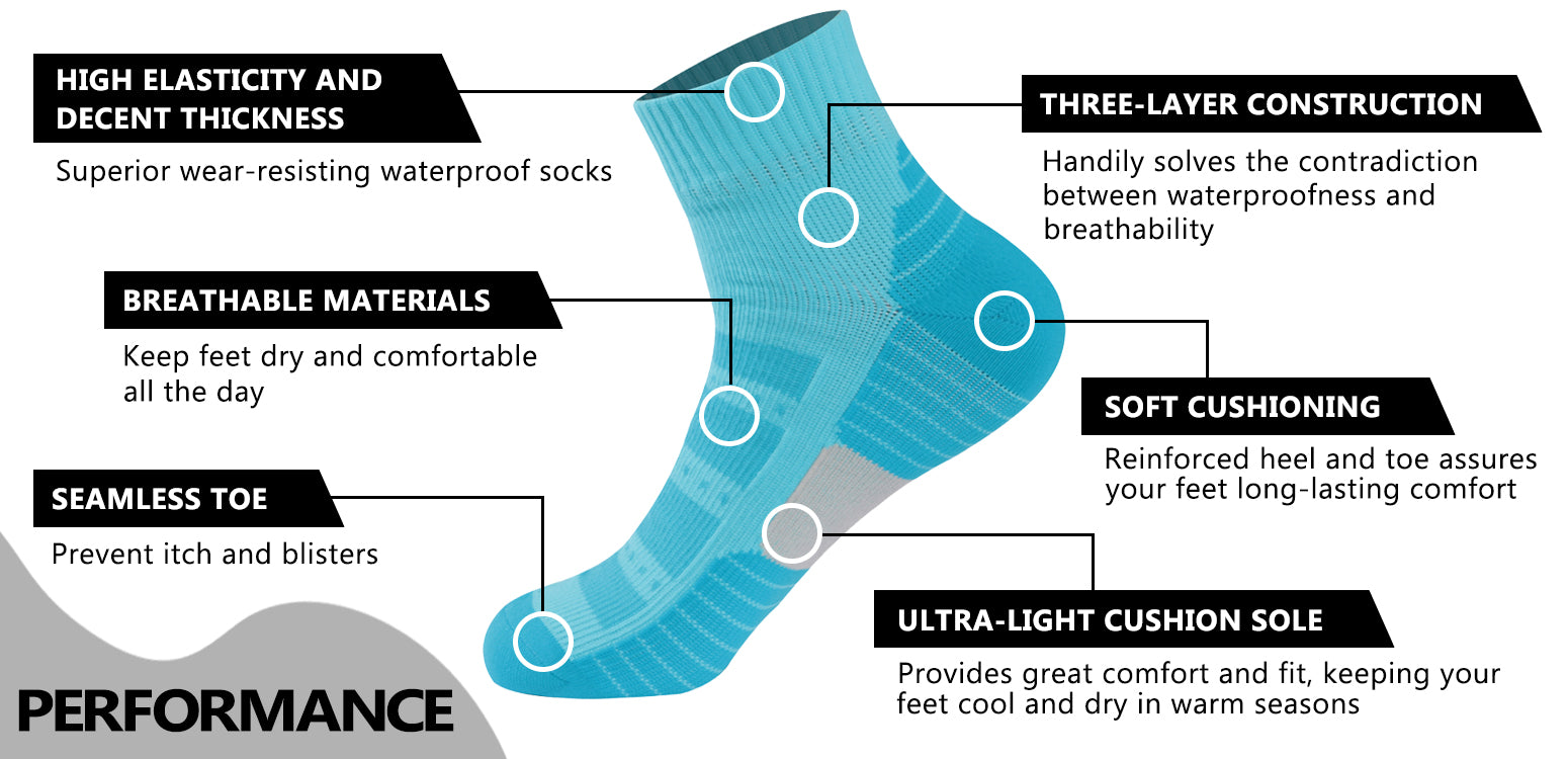 blue waterproof socks features