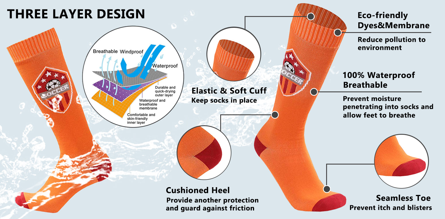 orange waterproof socks