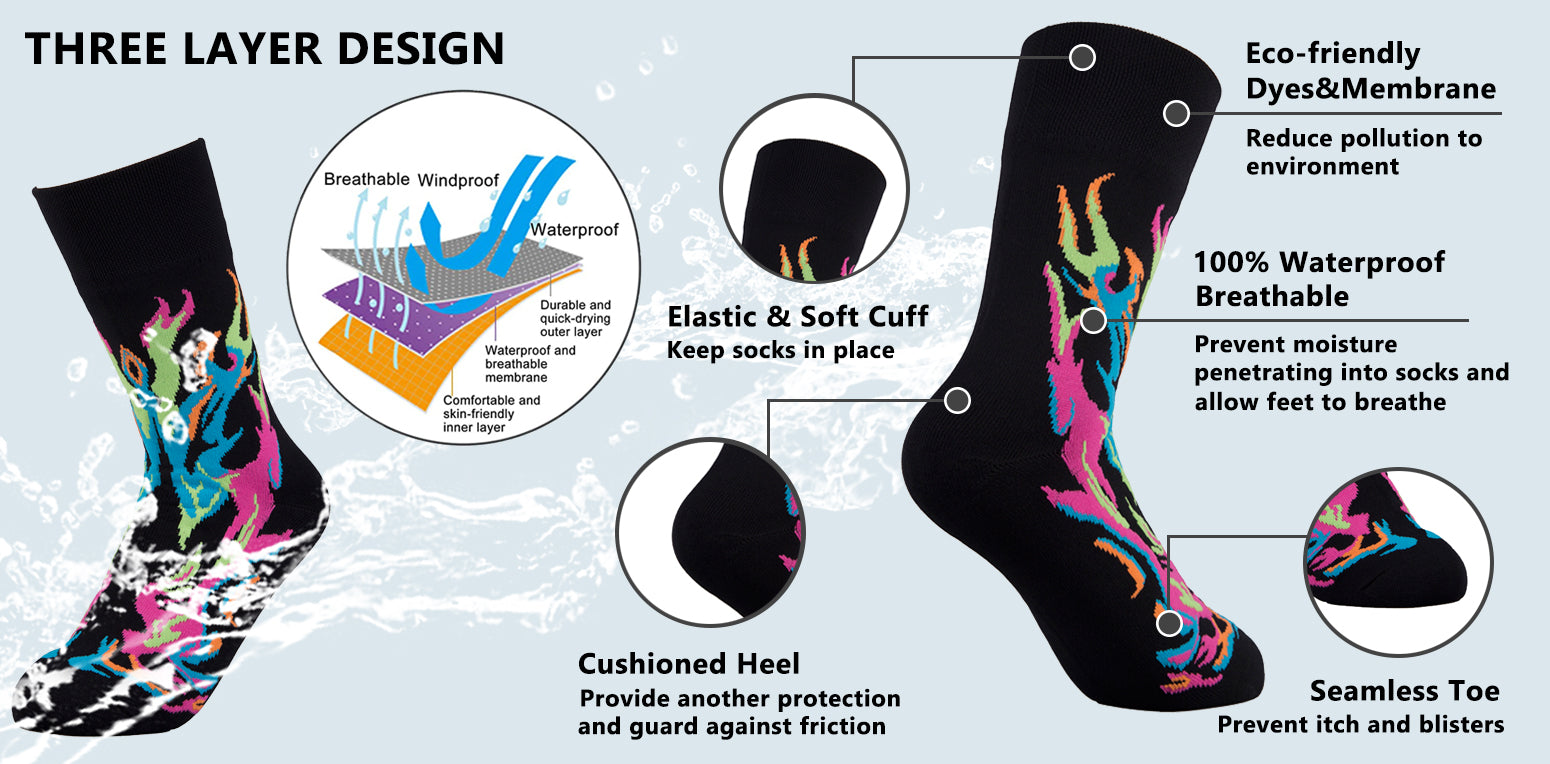 fire waterproof socks features
