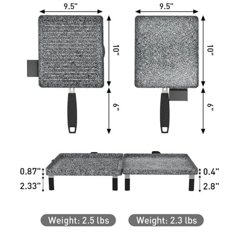 Electric grill griddle combo size chart
