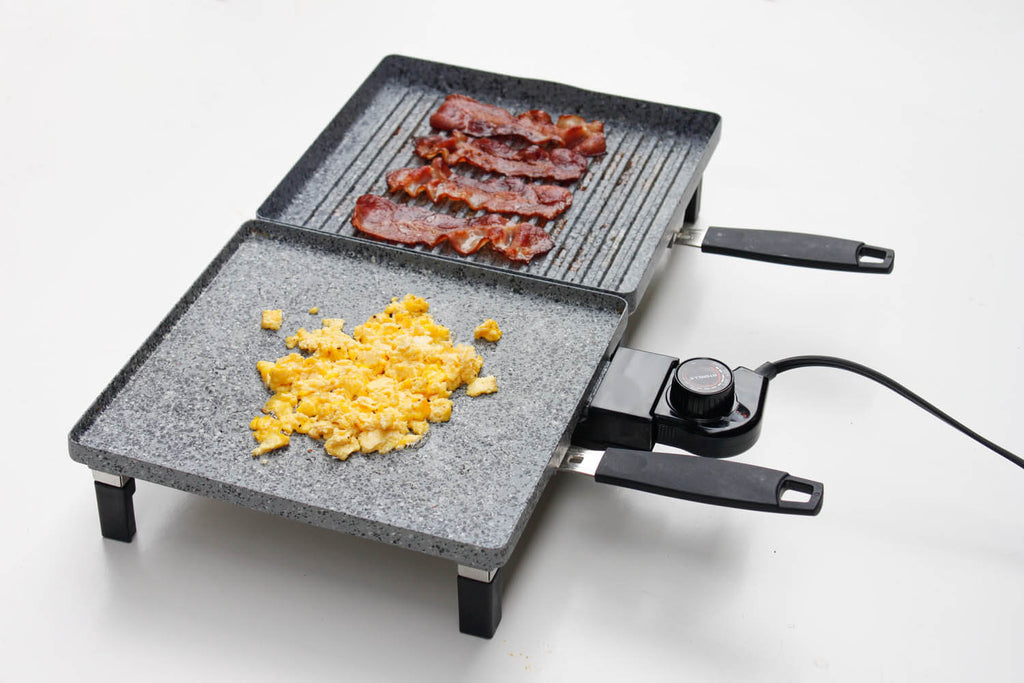 Fried egg on Atgrills electric griddle pan and grilled bacons on Atgrills electric grill pan