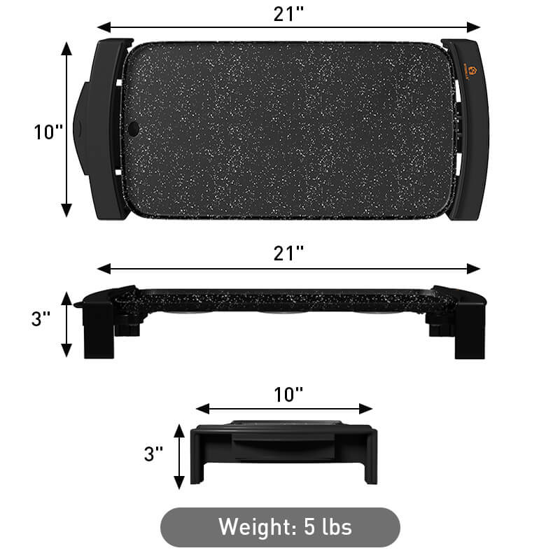 Griddle/Grill black color weight and dimensions