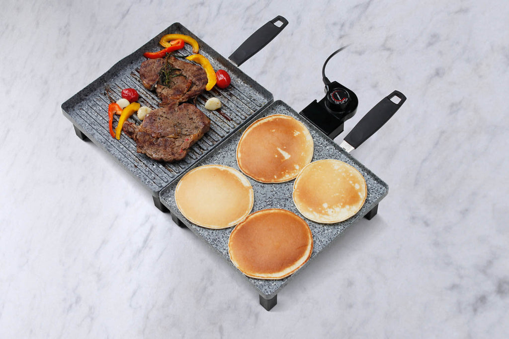 Electric grill griddle combo with steaks and pancakes