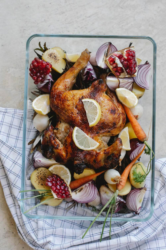 Grilled whole chicken with vegetables