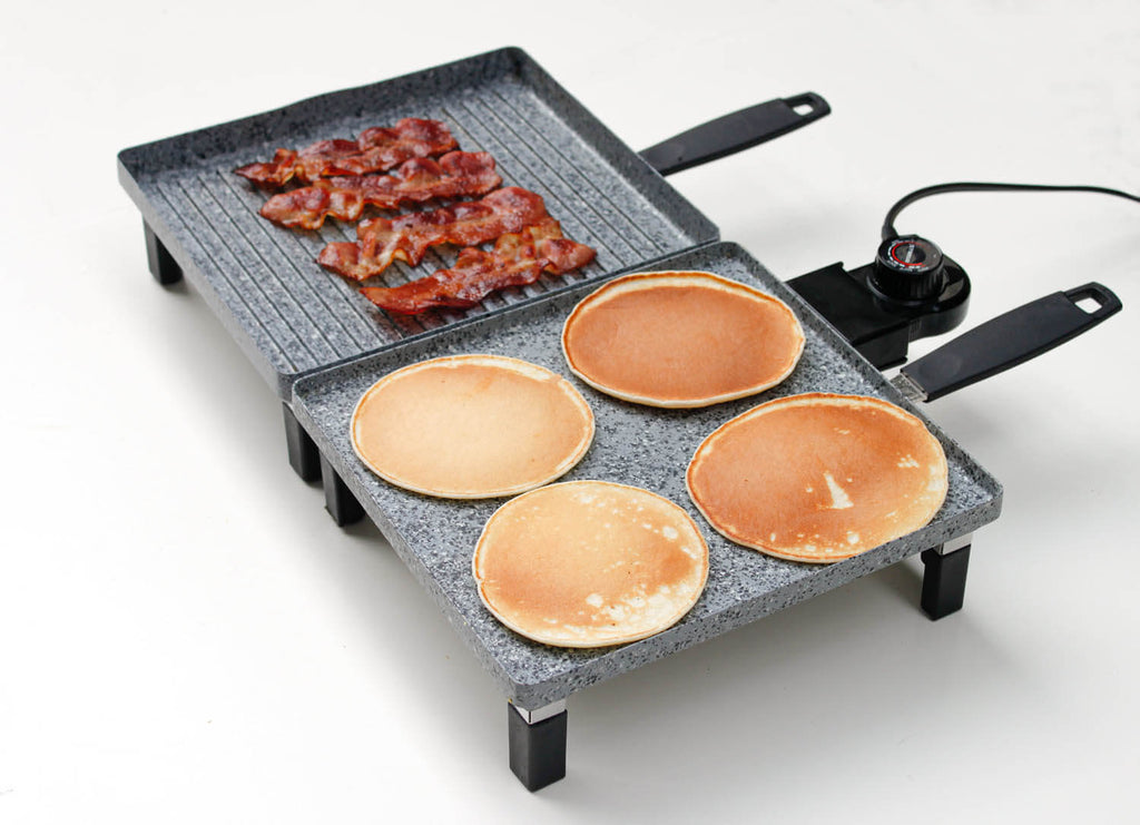 Pancakes on Atgrills electric griddle pan and bacons on Atgrills electric grill pan