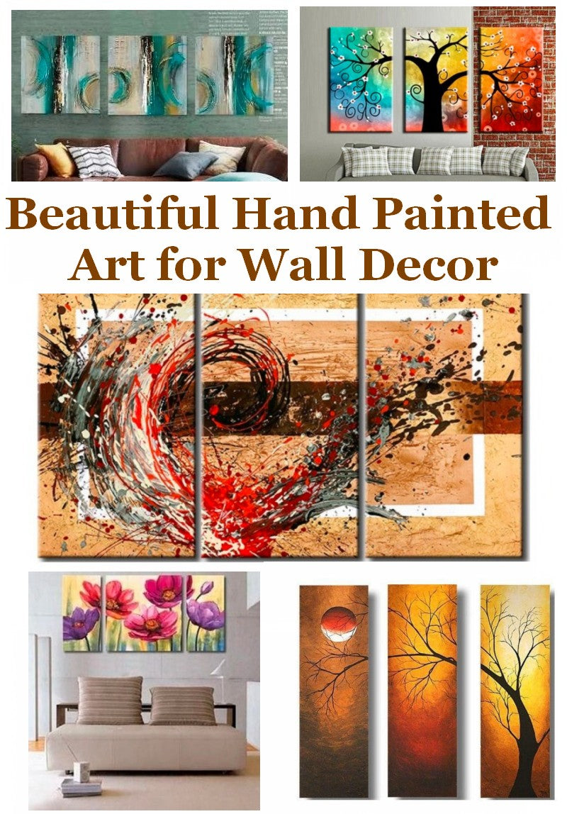 Hand Painted Abstract Painting, Interior Design Ideas, 3 Piece Wall Art Painting, Acrylic Painting for Sale, Bedroom Paintings