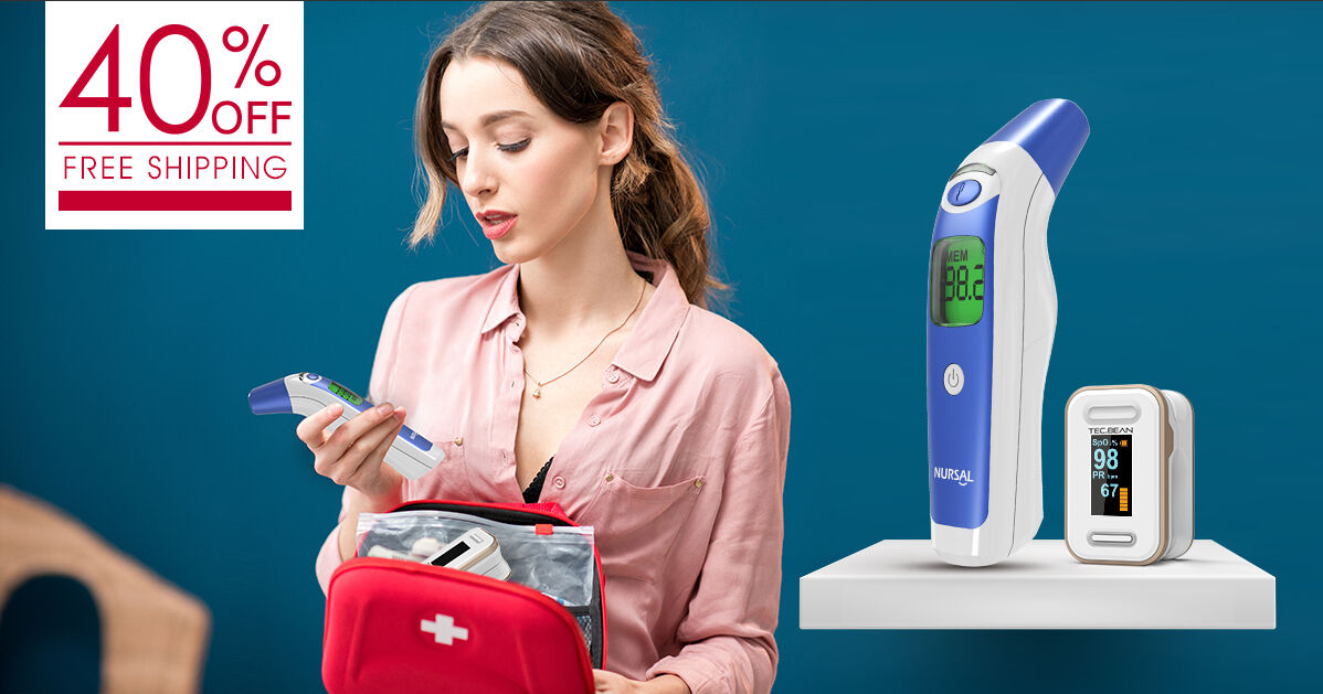Medical Forehead and Ear Thermometer + Fingertip Pulse Oximeter
