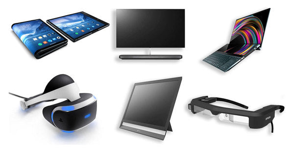 devices with oled panel, oled tv monitor watch laptop smartphone vr glasses