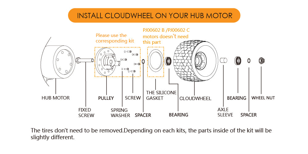 CLOUDWHEEL Discovery 120mm/105mm Urban All Terrain Off Road Electric Skateboard Wheels For Hub Motor Boards Wheel Pulley Kit - eRider.com.au