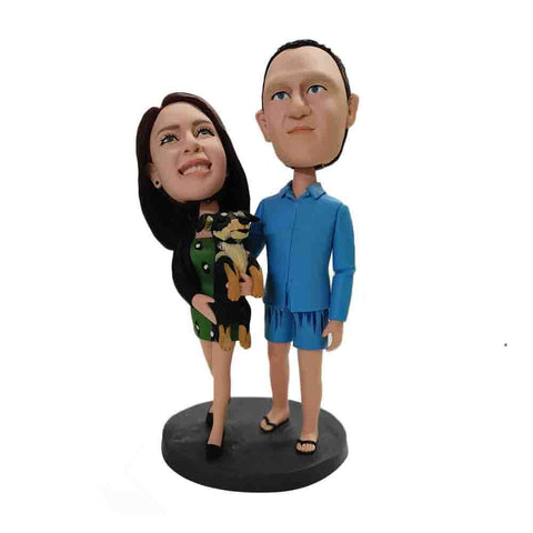 couple with pet customized bobblehead