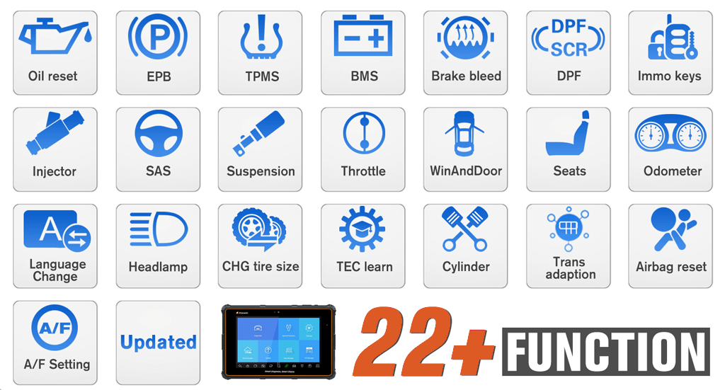 Foxwell i70Pro support 22 Common Service&Maintenance Functions