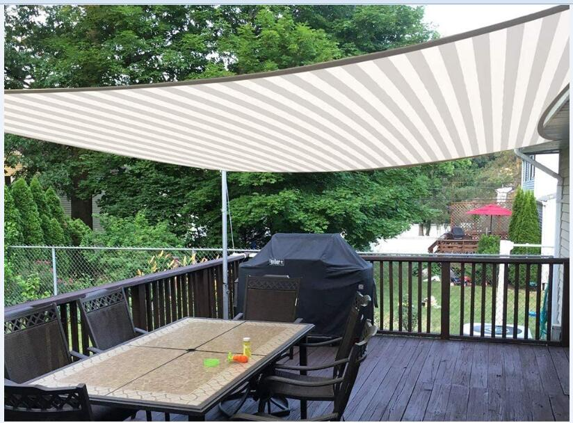 Quictent white & gray colored-stripe sun shade sail