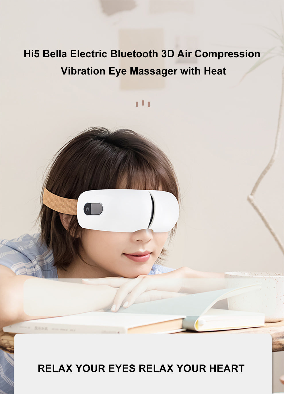 Hi5 Bella Electric Bluetooth 3D Air Compression Vibrating Eye Massager with Heat