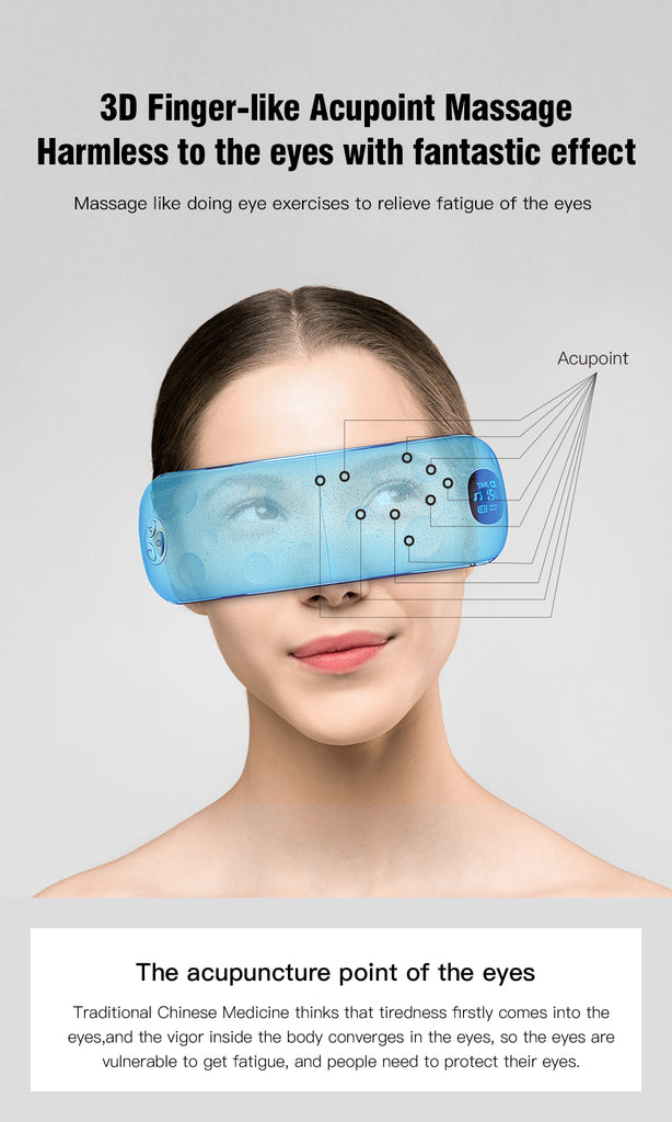 Hi5 Moon Face Bluetooth 3D Eye Massager w/ 3-Layer Airbag, Bluetooth & Music and LCD Display