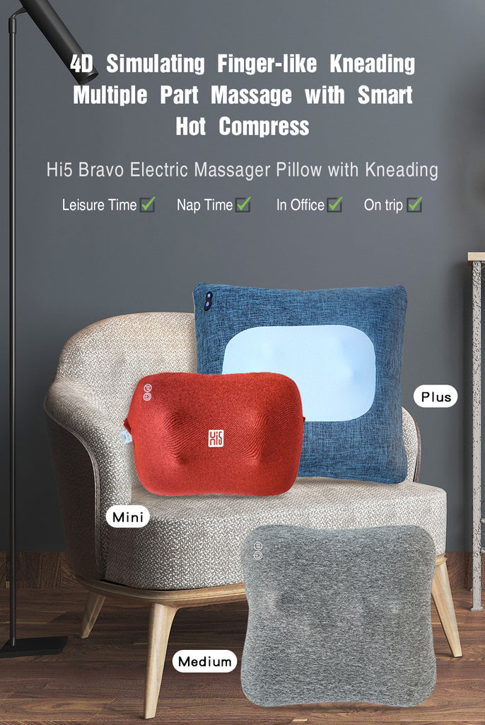 Hi5 Bravo Mini Electric Pillow Massager with Kneading and Heat, 3 Levels Adjustable