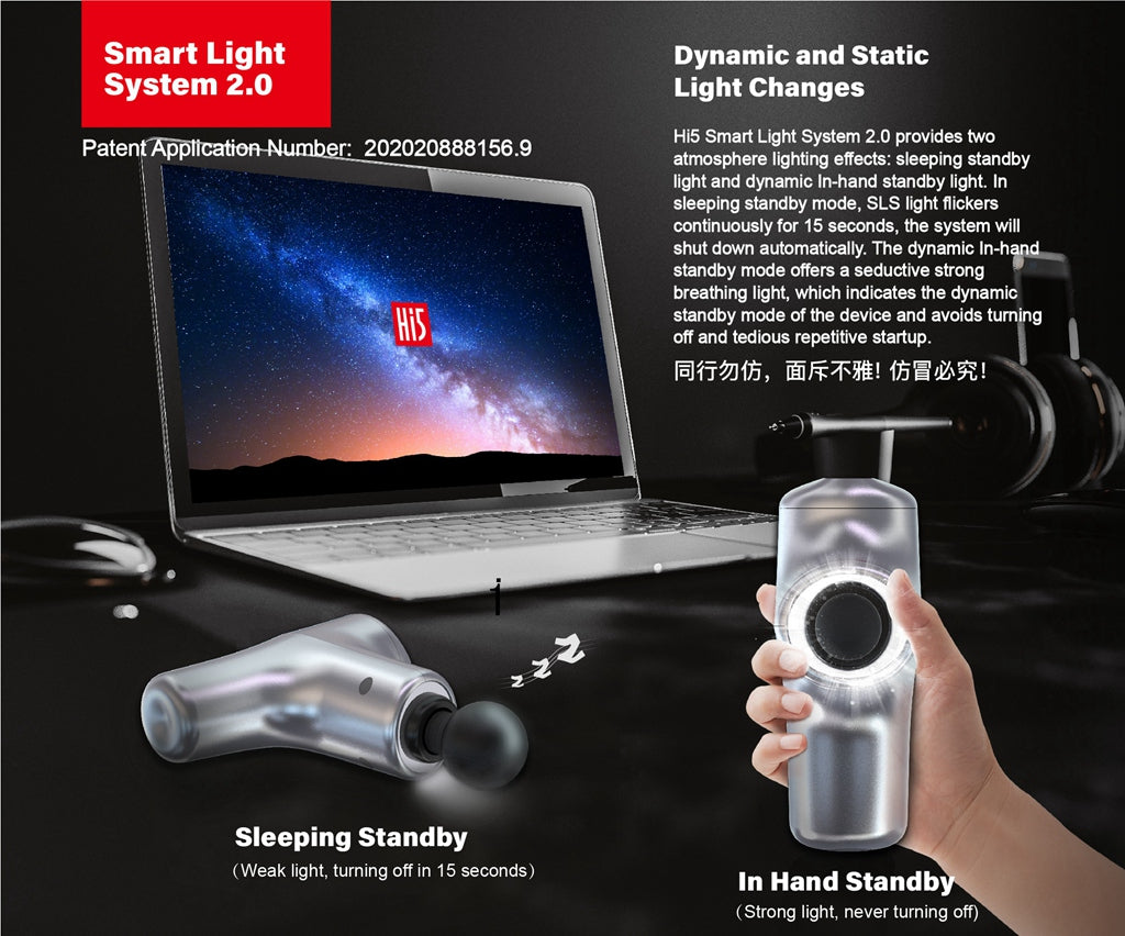 Hi5wellness.com Hi5 Smart Light System provides light sources with different colors, brightness and flashing according to the status of the massage gun's stillness, movement, standby, and different speeds. It provides a high-tech lighting effect in a dark environment, and also increases the fun of massage.