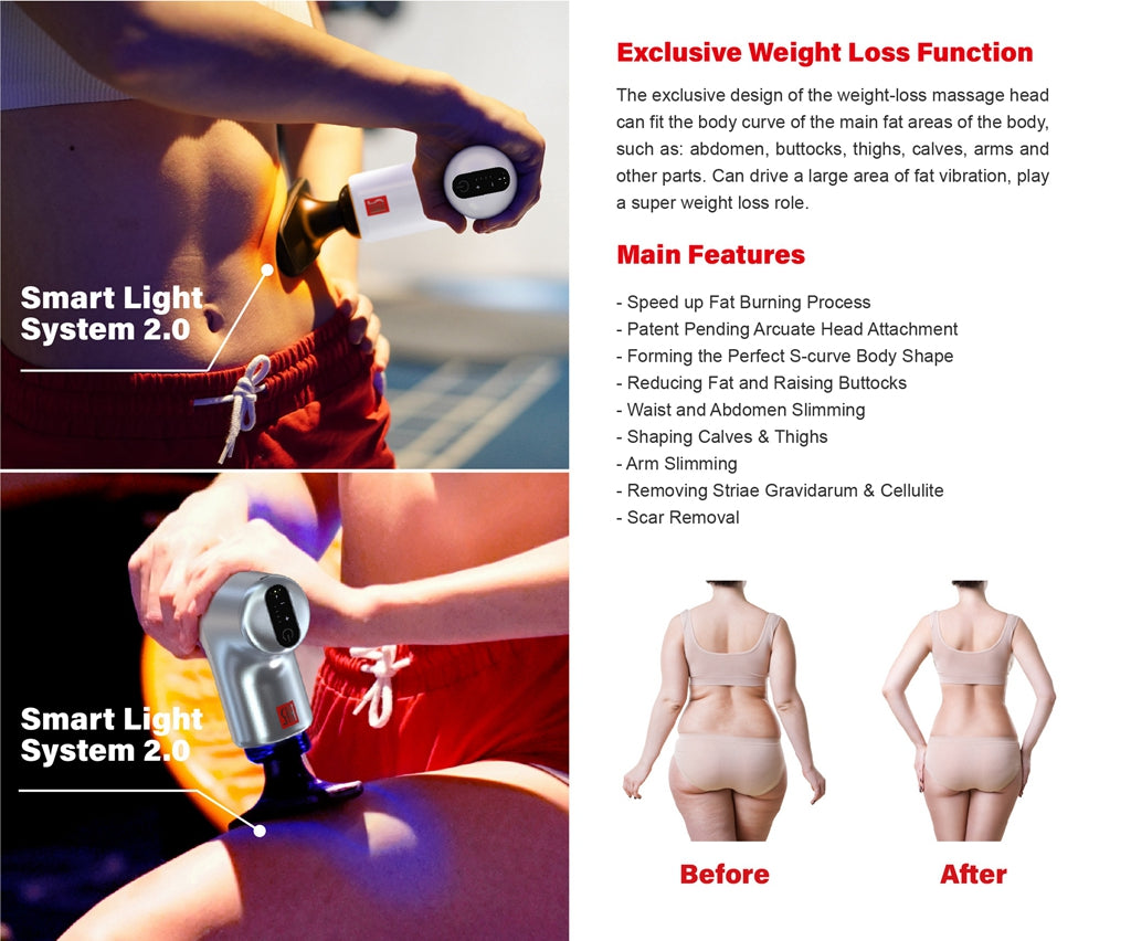 The exclusive design of arcuate head attachments is ideal for slimming and fat reduction functions. After testing this head attachment on thigh, calves, buttocks and abdomen at high frequency, users have been giving feedbacks, that the slimming effect and massage efficiency is higher and the comfort is better than other traditional head attachments.