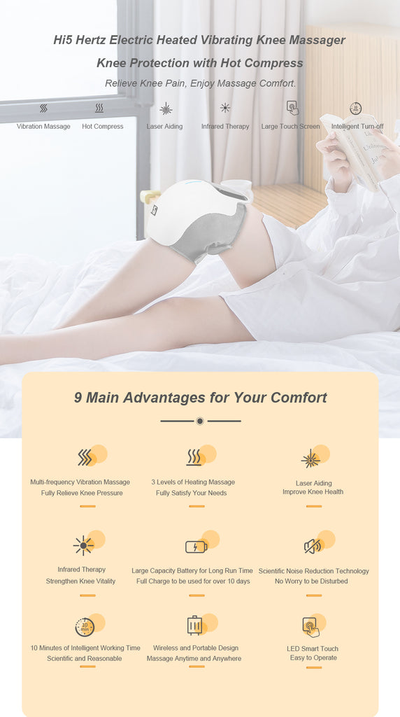 Hi5 Hertz Electric Heated Vibrating Knee Massager for Pain Relief, Vibration Circulation and Relaxation