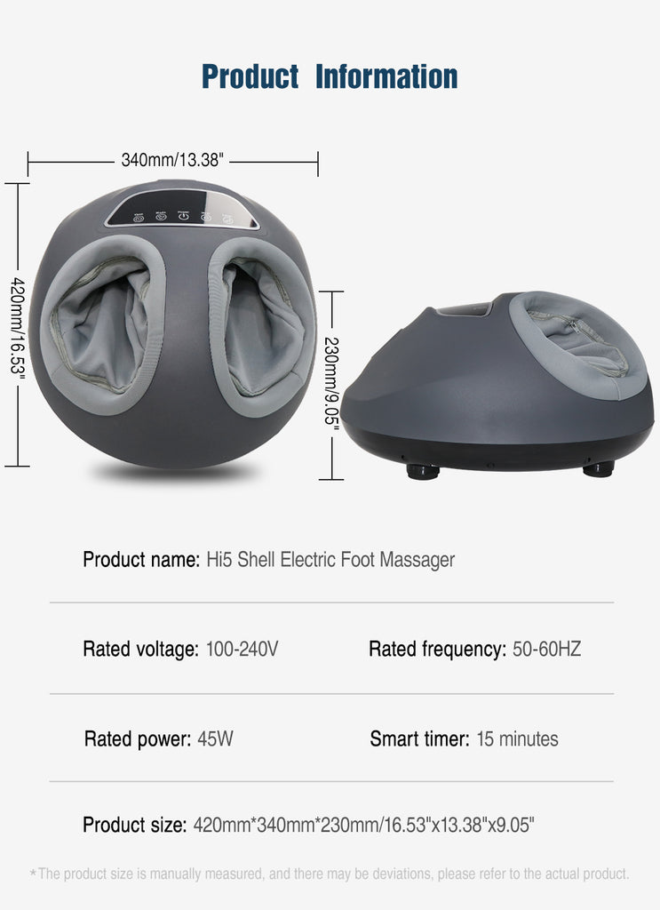 Hi5 Shell Electric Foot Massager multiple modes of massage with Hot Compress