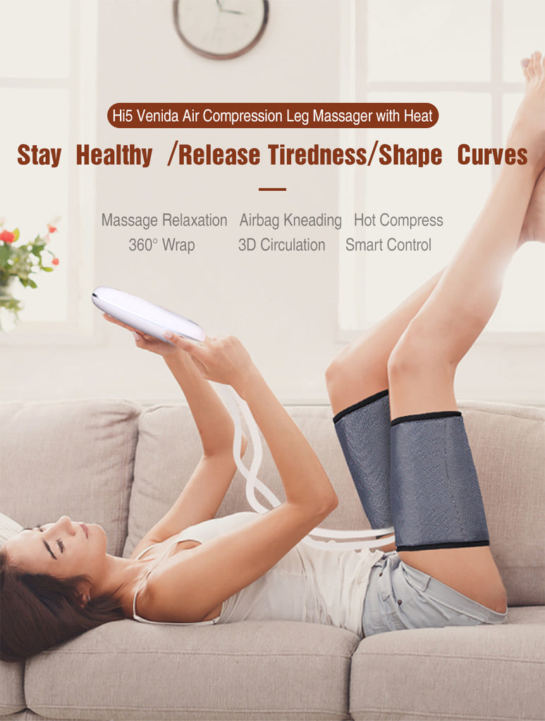 Hi5 Venida Air Compression Leg Massager with 3 Intensities and 2 Levels Heating System for Circulation and Relaxation