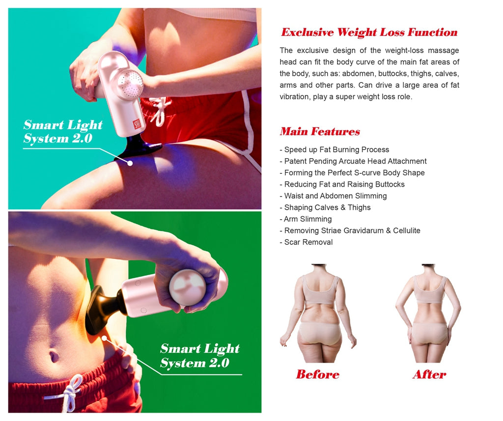 Exclusive Weight Loss Function Main Features - Speed up Fat Burning Process - Patent Pending Arcuate Head Attachment - Forming the Perfect S-curve Body Shape - Reducing Fat and Raising Buttocks - Waist and Abdomen Slimming - Shaping Calves & Thighs - Arm Slimming - Removing Striae Gravidarum & Cellulite - Scar Removal