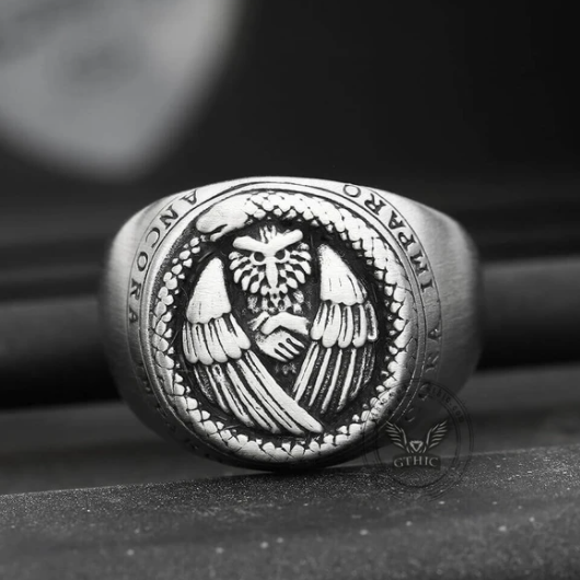 Owl and Ouroboros Stainless Steel Ring - Gthic.com - Blog