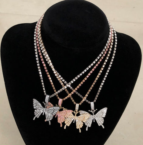 Big Butterfly Rhinestones Necklace