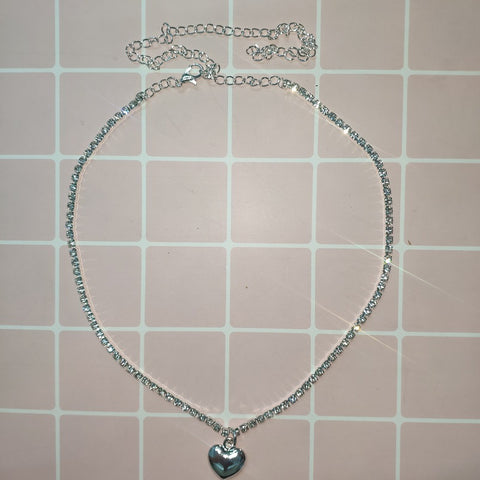 Heart Rhinestone Choker Necklace Ti Steel No Fade