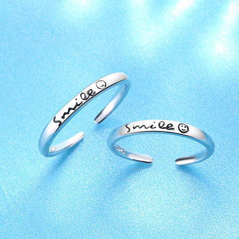 Smile Sterling Silver Open Ring