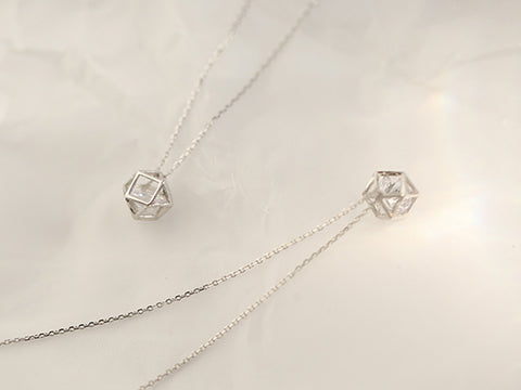 """Romance Cube"" Geomatric Sterling Silver Necklace"