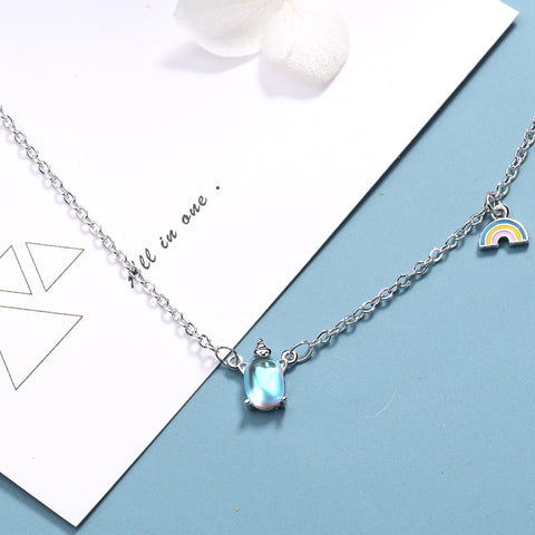 """""""Rainbow Unicorn"""" Sterling Silver Necklace"""