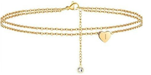 2 Layered Heart Letter Anklet