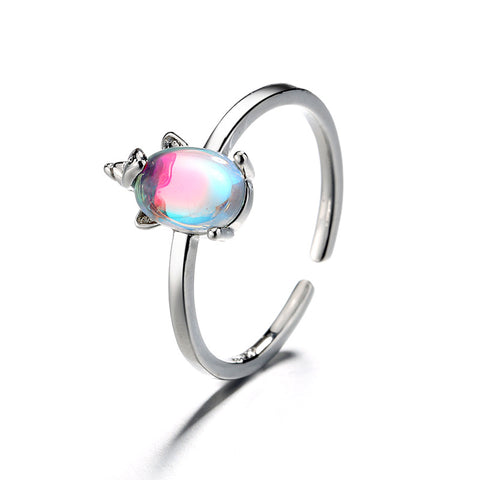 """Rainbow Unicorn"" Sterling Silver Ring"