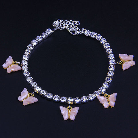 5 Butterfly Rhinestones Cute Anklet