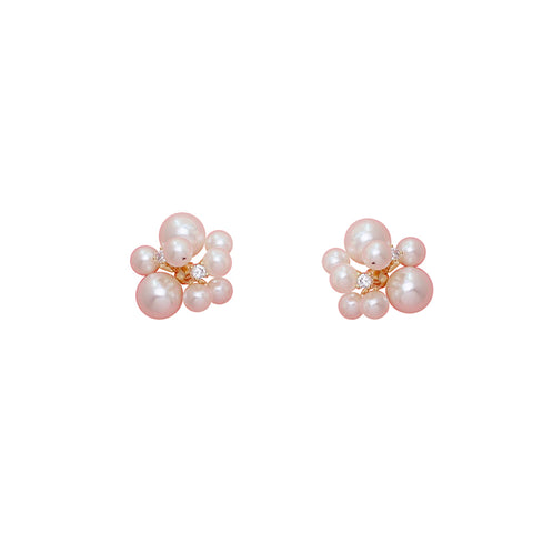 """Popcorn"" Pearl CZ Diamond S925 Hook Earring"