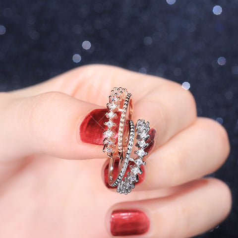 """""""Bling Crown"""" Sterling Silver 2 Layered Ring"""