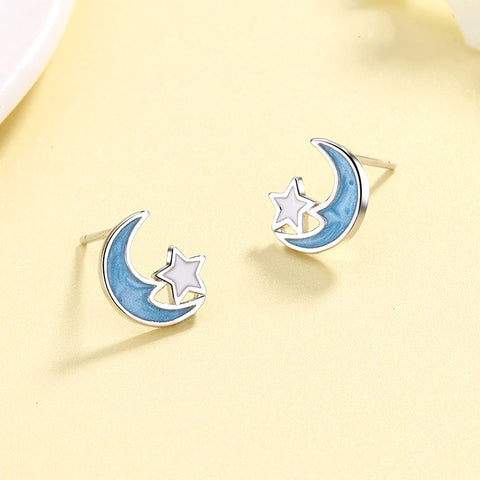 """Blue Moon"" Sterling Silver Earring"