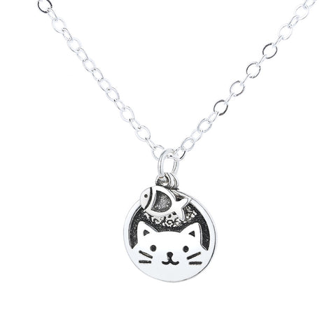 """Cat & Fish"" Sterling Silver Retro Necklace"