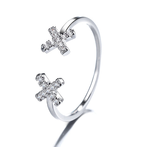 """Double X"" Sterling Silver Diamond Ring"